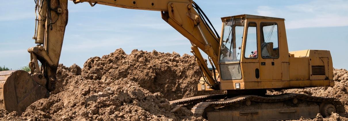 Bagger Bauen Grundstück Baugrundstück